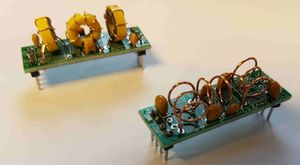 Low pass filter kits from QRP-Labs built by M0YDH for Portsdown TX use. 4m on left and 2m on right